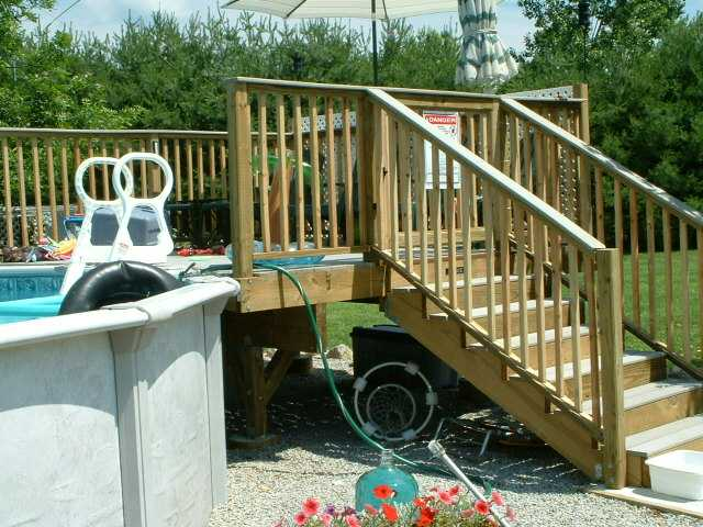 Above ground pool needs a deck ridgid plumbing for Above ground pool decks attached to house