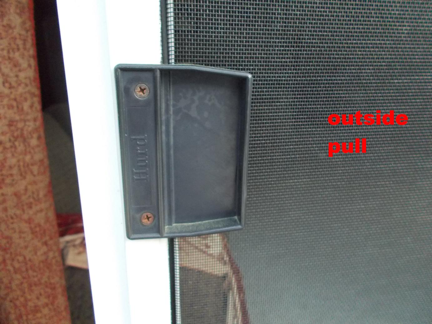 Latch unlatch patio screen door from both sides ridgid for Screen for door that opens out