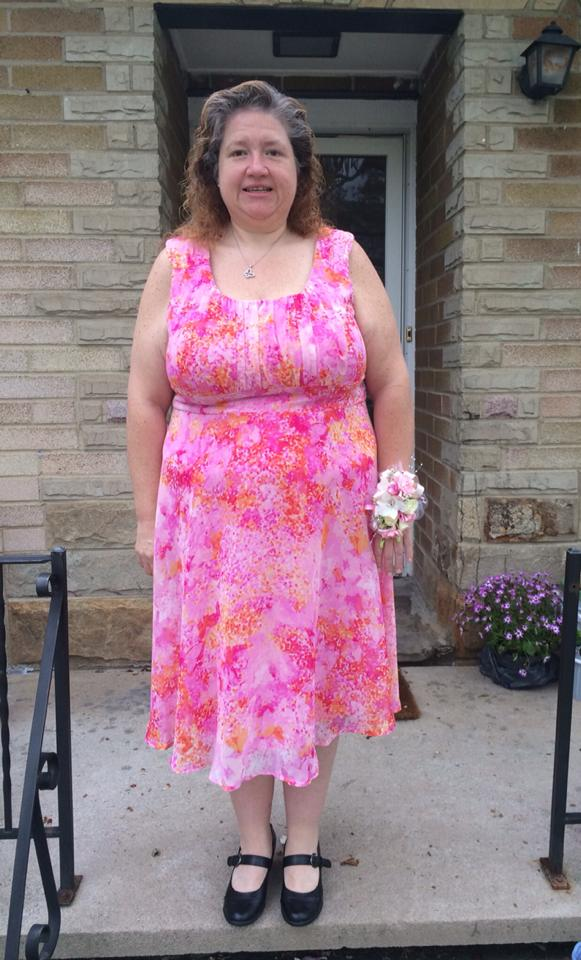 Not exactly the prom dress I envisioned, but a beautiful dress anyway. I will await the Prom Dress for when I reach lifetime (166 lbs.).